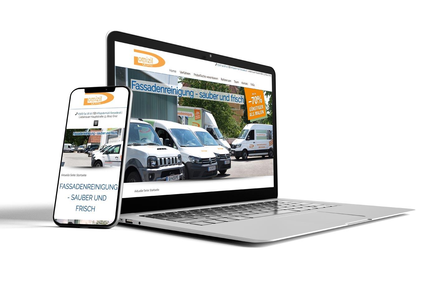 Webdesign von perfect:net, Dieter Biernat, domizil-fassade.at